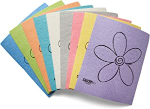 Skoy Cloth Eco-Friendly and Reusable Swedish Dishcloth, for Kitchen and Household Use, Environmentally-Friendly, Dishwasher Safe, Plastic-Free Packaging, Assorted Colors w/Flower Design, 8-Pack