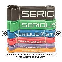 """SERIOUS Steel fitness # 0pull-up/crossfit/resistenza e fascia elasticizzata, misura: 1/10,2cm """"x 4.5mm resistenza: 2–6,8kilogram estrazione e fascia starter e-guide inclusi"""""""