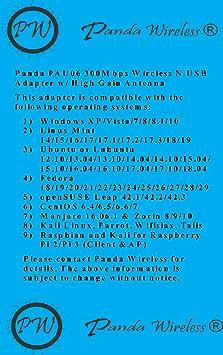 Panda Wireless PAU06 300Mbps Wireless N USB Adapter - w/High Gain Antenna -  Win XP/Vista/7/8/8 1/10, Mint, Ubuntu, Fedora, openSUSE, CentOS, Kali
