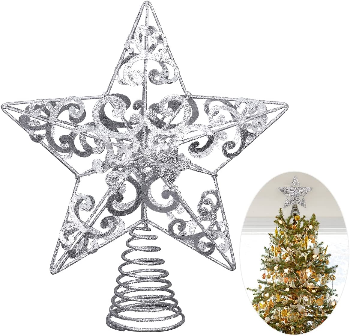 Metal Christmas Tree Topper Glittered Hallow Wire Star Topper for Christmas Home Decoration 8 Inches Red, 20 cm