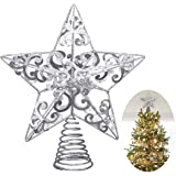 UNOMOR Christmas Star Tree Topper –Silver Glittered Metal Hallow Tree Star Unique Design- 8 Inches (Base Not Included) Fit For General Size Christmas Tree