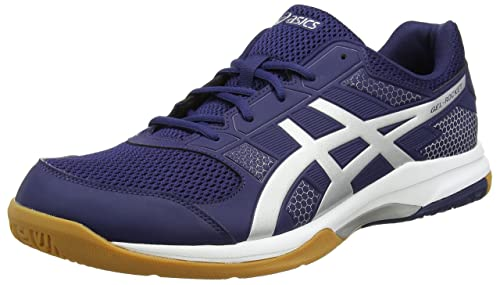 bc7cc8a7863062 ASICS Men s Gel-Rocket 8 Indigo Blue Silver White Indoor Multisport Court  Shoes