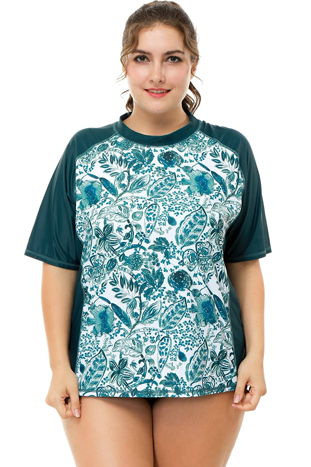 9602694390a20 Sociala Women s Plus Size Rash Guard Short Sleeve Swim Shirt ...