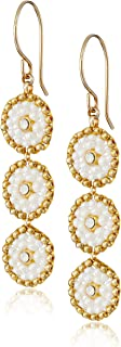 product image for Miguel Ases Swarovski and Cream Triple-Station Small Drop Earrings