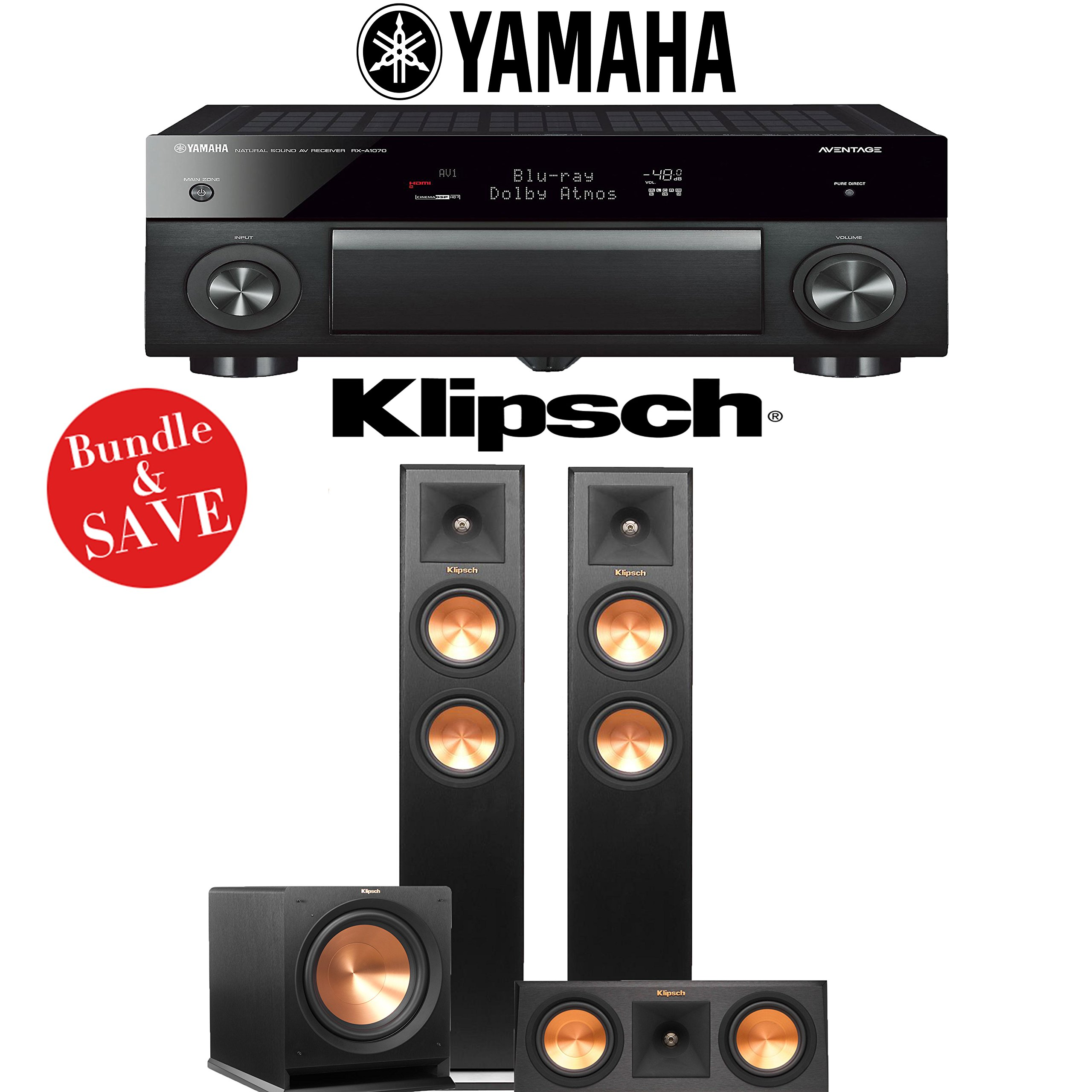 Yamaha AVENTAGE RX-A1070BL 7.2-Ch 4K Network AV Receiver + Klipsch RP-250F + Klipsch RP-250C + Klipsch R-112SW - 3.1-Ch Home Theater Package by Yamaha
