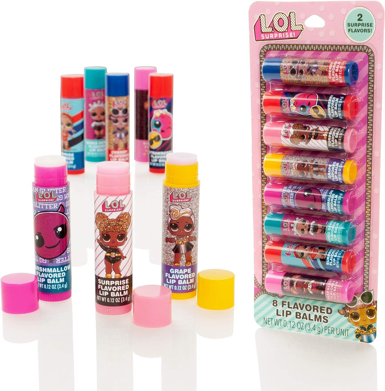 MGA Entertainment LOL Surprise - Paquete de 8 Barras de bálsamo Labial con Sabor - Set de Brillo de Labios para niñas