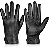 Genuine Sheepskin Leather Gloves For Men, Winter Warm Touchscreen Texting Cashmere Lined Driving Motorcycle Gloves By…