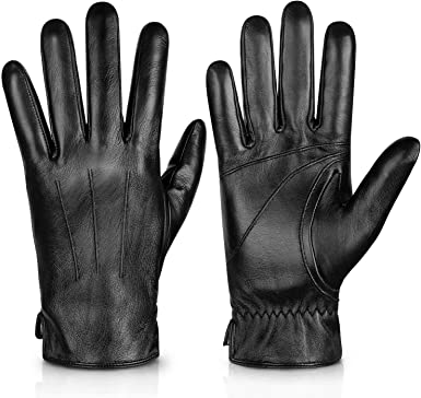 Leather Gloves Full Finger Mens Motorcycle Driving Winter Warm Touch Screen LL