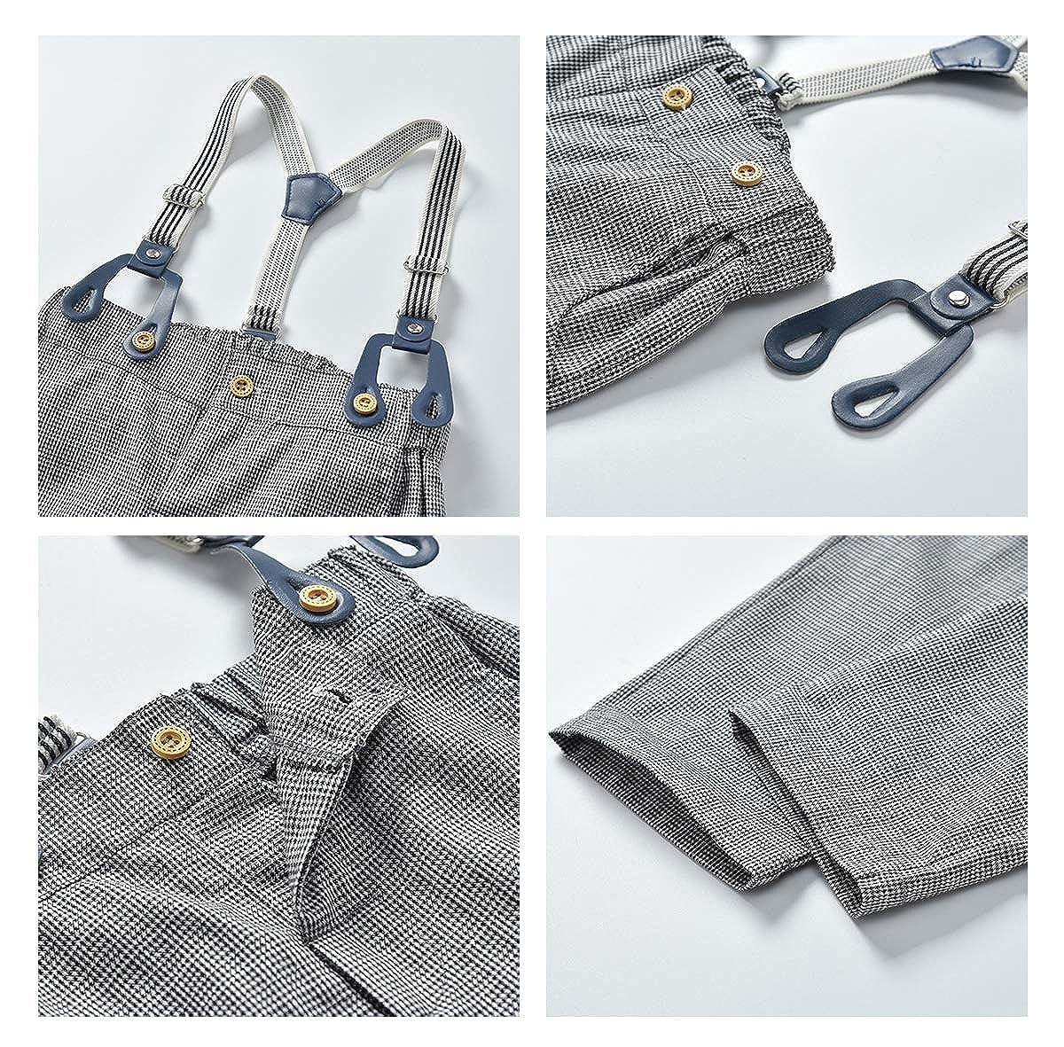 ALLAIBB Baby Toddler Boy Gentleman Outfit Dress Shirt+Suspender Plaid Pants 2Pcs Set