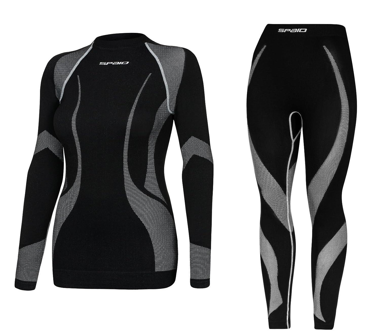 Spaio® Set - Damen Skiunterwäsche Funktions,- Motorrad,- Thermowäsche atmungsaktiv und Flachtnahttechnik - (Made In Italy)