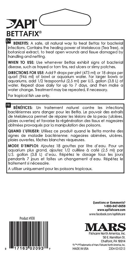 API bettafix Antibacteriano y antifúngico Betta Peces Infección y Hongos Remedy 1.7-Ounce Botella: Amazon.es: Productos para mascotas