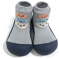 Attipas Baby Shoes Socks Rubber Sole First Walker Soft Cotton Ideal Baby Registry Gifts Grey Size: 6.5 Toddler