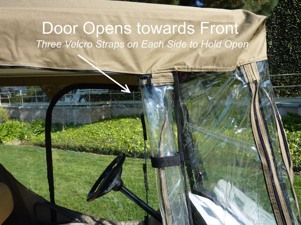 Premium Tight Weave Golf Cart Driving Enclosure for 4 seater with 2 seater roof up to 58'' by Formosa Covers (Image #7)