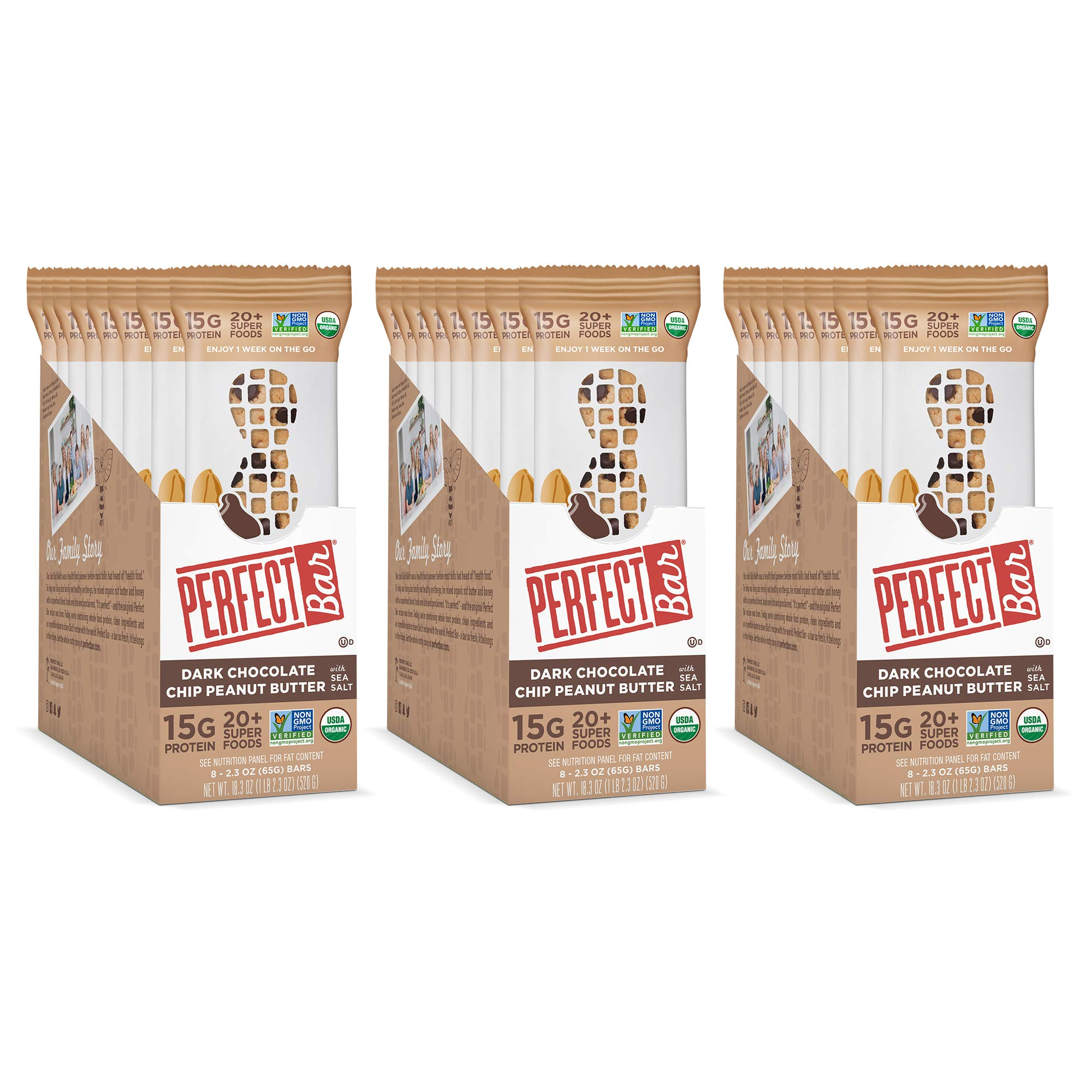 Perfect Bar Original Refrigerated Protein Bar, Dark Chocolate Chip Peanut Butter, 15g Whole Food Protein, Gluten Free, Organic and Non-GMO, 2.3 Oz. Bar (24 Bars) by Perfect Bar (Image #3)