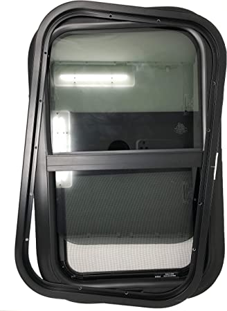 Teardrop Replacement Trailer Window 1 Tiny House Vertical Slider W//Screen /& Interior Camper Window Clamp Ring Included RV Window 14 Inch Width x 16 Inch Height by LandCamp