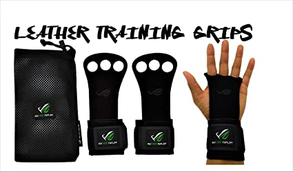 Leather Gymnastic Grips Weight Lifting Training Gloves 3 Hole With Wrist Support