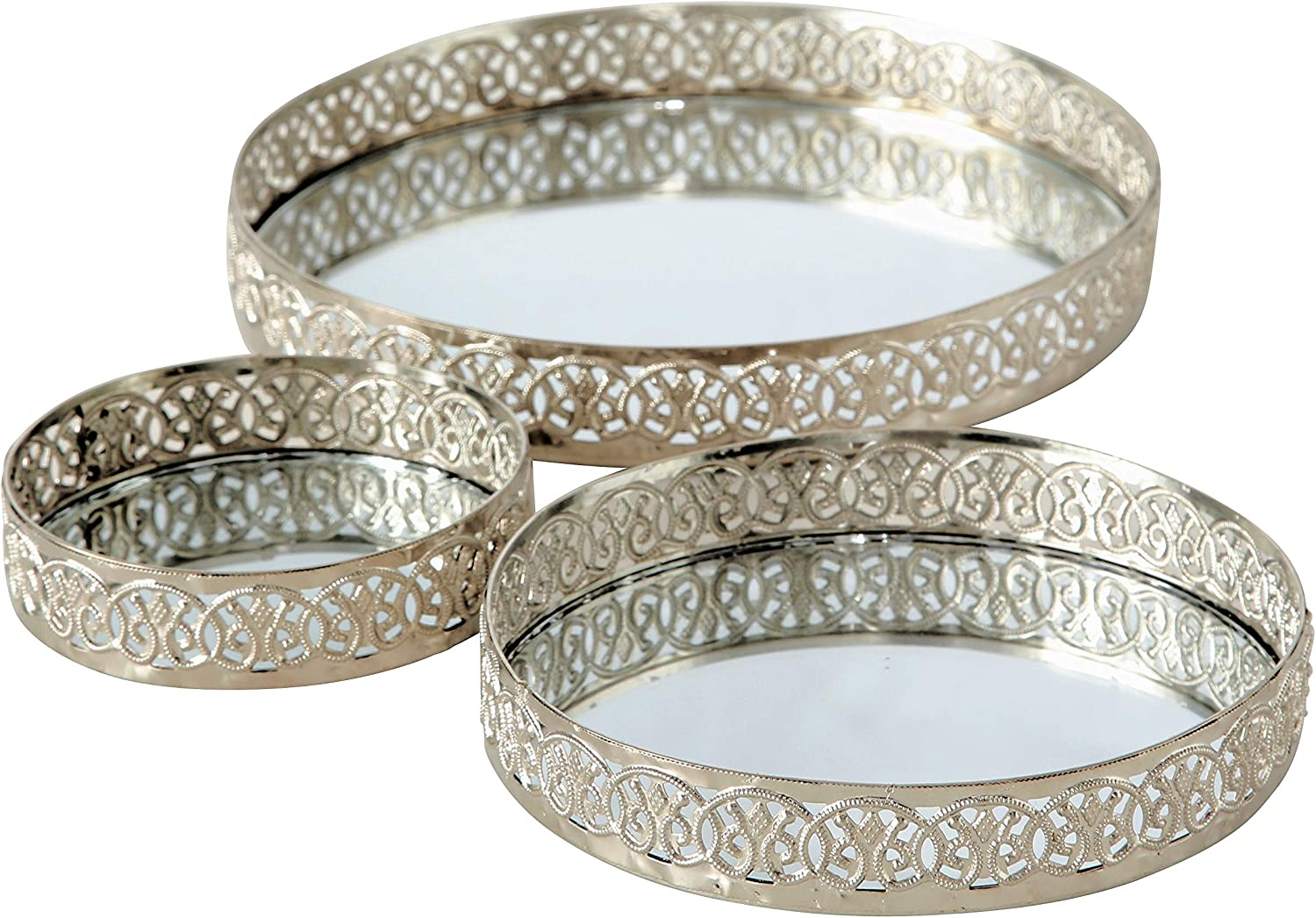Whw Whole House Worlds Farmers Market Table Top Candle Trays Set Of 3 Iron Lattice Edges Inset Mirror Floor 8 6 4 Inches Diameter Padded Bottoms Home Kitchen