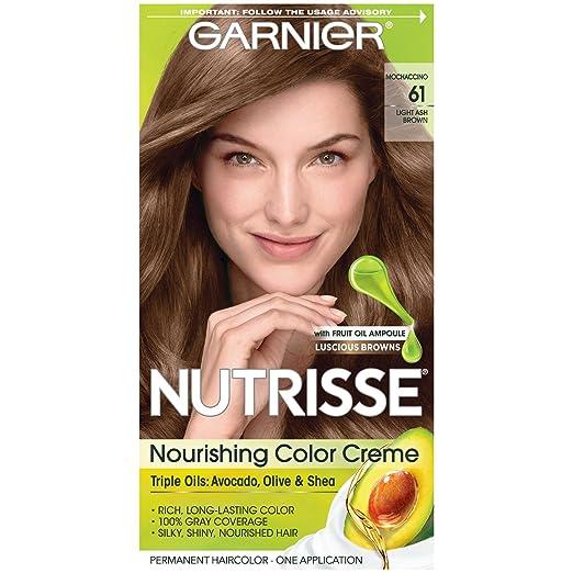 Garnier Nutrisse Crema nutritiva para el cabello, 61 color marrón ceniza claro (mochaccino) (el embalaje puede variar)