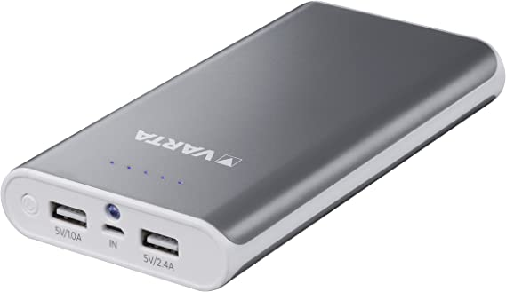 Varta Powerpack Batteria Esterna da 16000 mAh con Cavo Micro-USB da 50 cm, Senza Cavo Adattatore Lightning, Grigio/Bianco