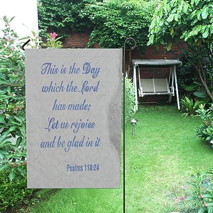 Let Us Rejoice Expression God Bible Glad Psalm 118:24 Garden House Yard Flag
