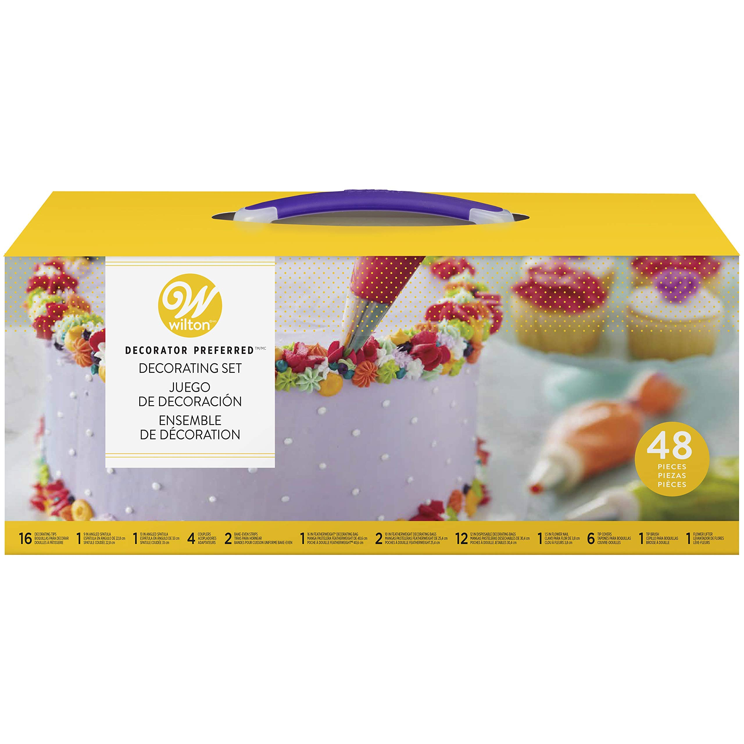 Wilton Decorator Preferred Buttercream Cake Decorating Set, Creating Your Masterpiece is as Easy as Cake, 48-Piece (Renewed)