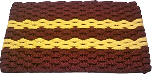 Rockport Rope Doormats 2034343 Indoor Outdoor Doormats, 20 x 34 , Wine with 2 Yellow Stripes
