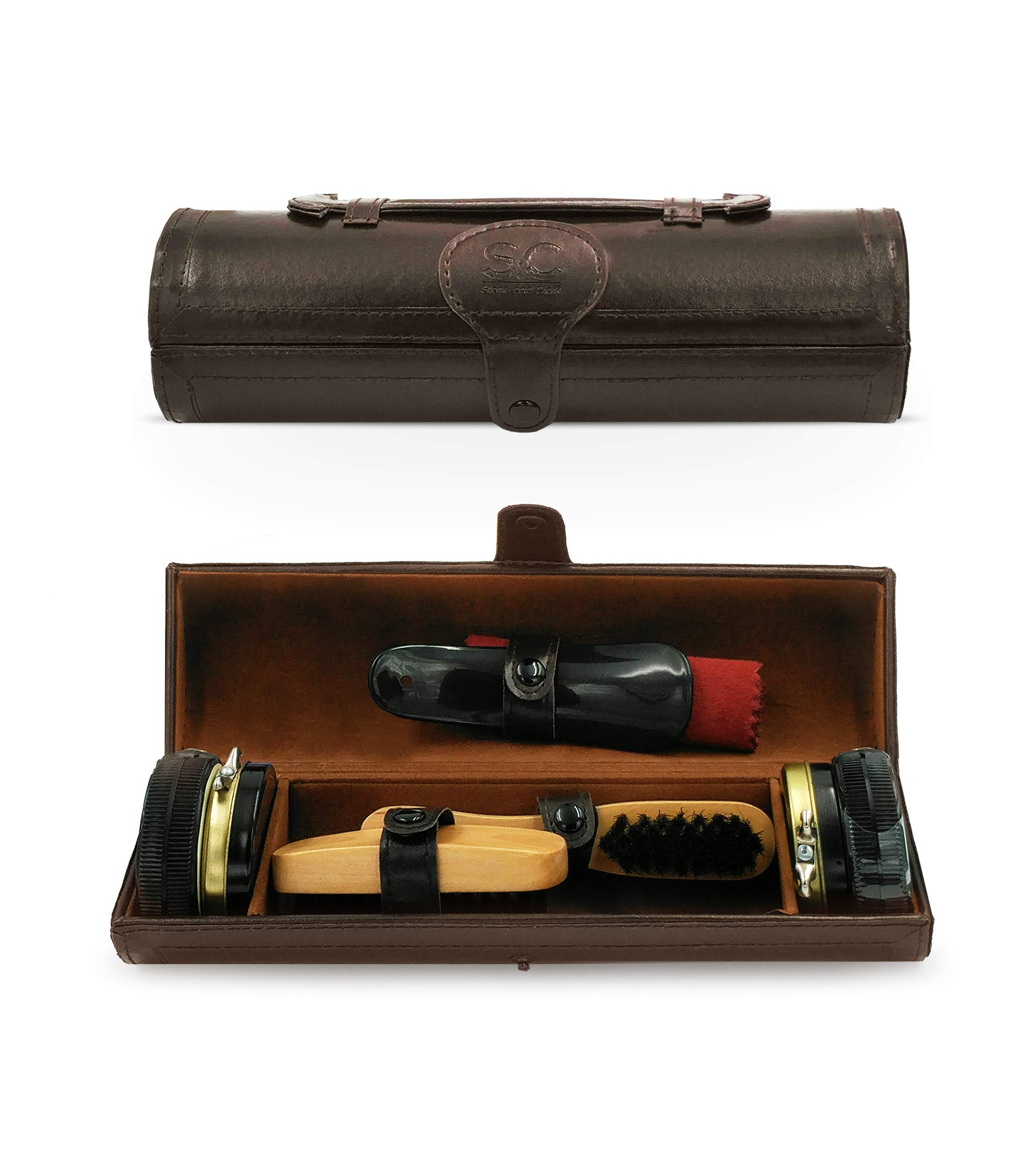 Stone & Clark 9PC Shoe Polish & Care Kit, Leather Shoe Shine Kit with Brown Wax, Shoe Brushes for Polishing, Shine Cloth & Shoe Horn,Compact Shoe Cleaning Kit With Shoes Shine Brush & PU Leather Case