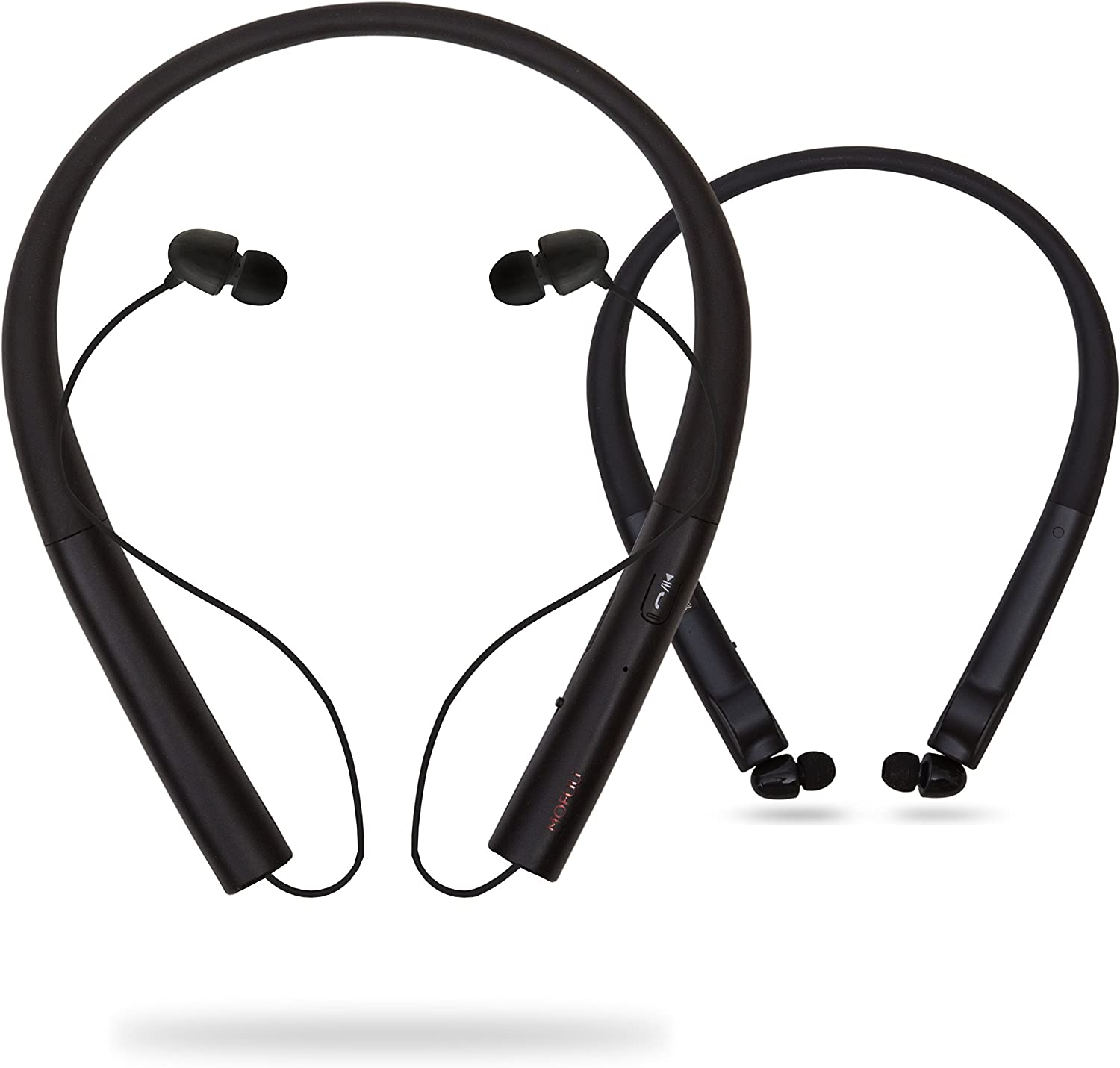 Retractable HiFi Premium Stereo Wireless Headphones with Retractable Earbuds for Cell Phones or Other Wireless Devices with Mic by Mofuu (Black)