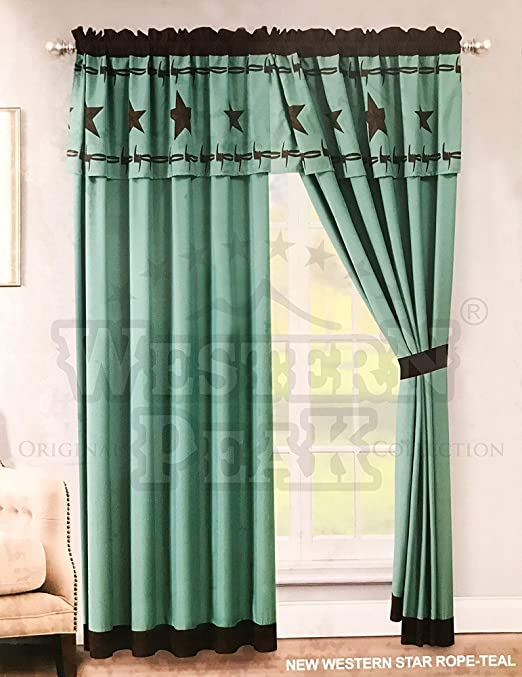 Western Cowboy Horse Star Horseshoe Design Embroidery Curtain Lining 2 Panel