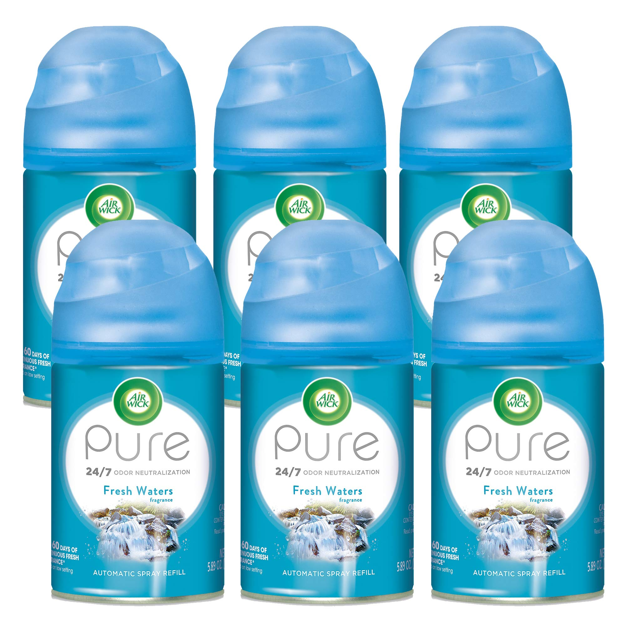 Air Wick Pure Freshmatic 6 Refills Automatic Spray, Fresh Waters, 6ct, Air Freshener, Essential Oil, Odor Neutralization, Packaging May Vary by Air Wick