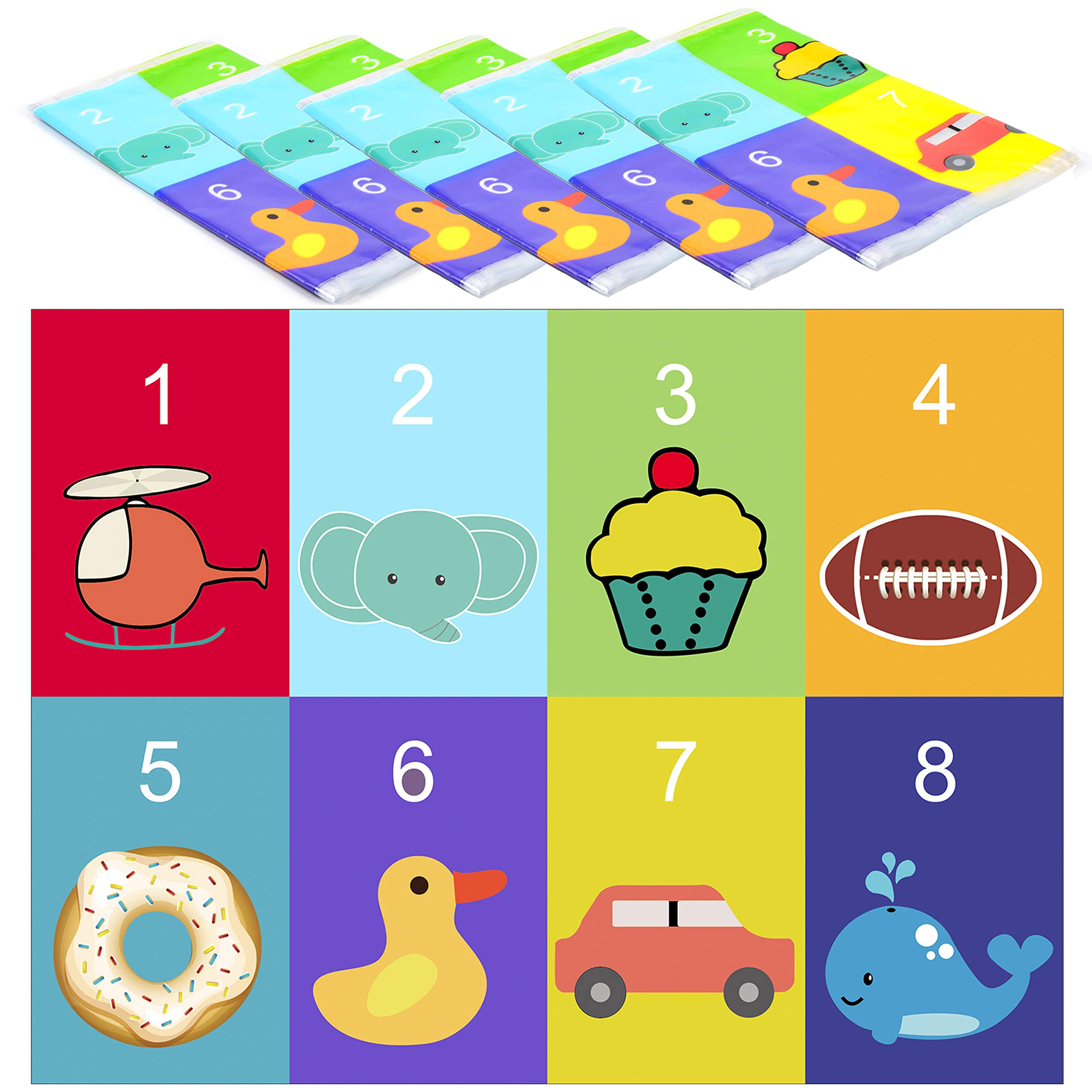Youngever 80 Disposable Placemats Table Topper, Extra Sticky (4 Sides) Adhesive Peel and Stick Strip Disposable Mats for Kids Toddlers Baby Children, 18 Inch x 12 Inch Kids Safe, FDA Approved (Animal) by Youngever