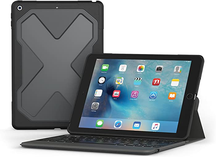 """ZAGG – Rugged Messenger – Backlit Case and Bluetooth Keyboard – Compatible with 2018 (G6) and 2017 (G5) Apple iPad 9.7"""" – Durable Case with Built-In Stand – Multiple-Device Pairing – Black"""