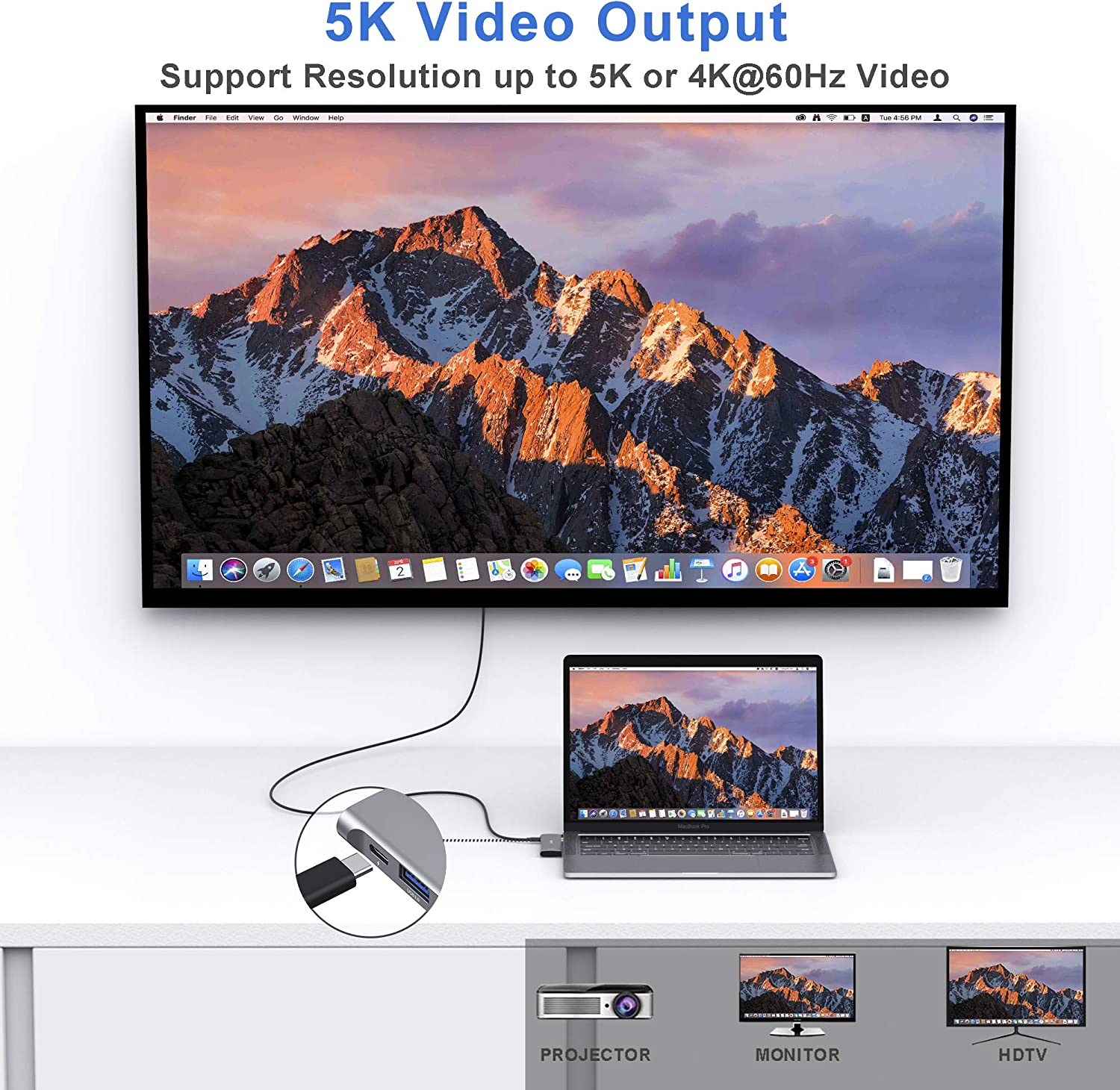 TF//SD 2 USB 3.0 7 in 1 USB C to HDMI Hub Adapter MacBook Pro Dongle with 4KHDMI USB C Adapter for MacBook Pro 2020 2019 USB-C 100W and Thunderbolt 3