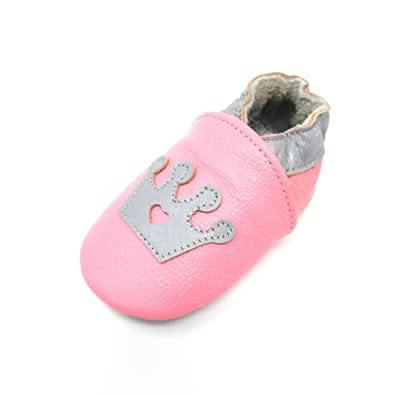 Amazon.com: piel auténtica suela suave rosa princesa Infant ...
