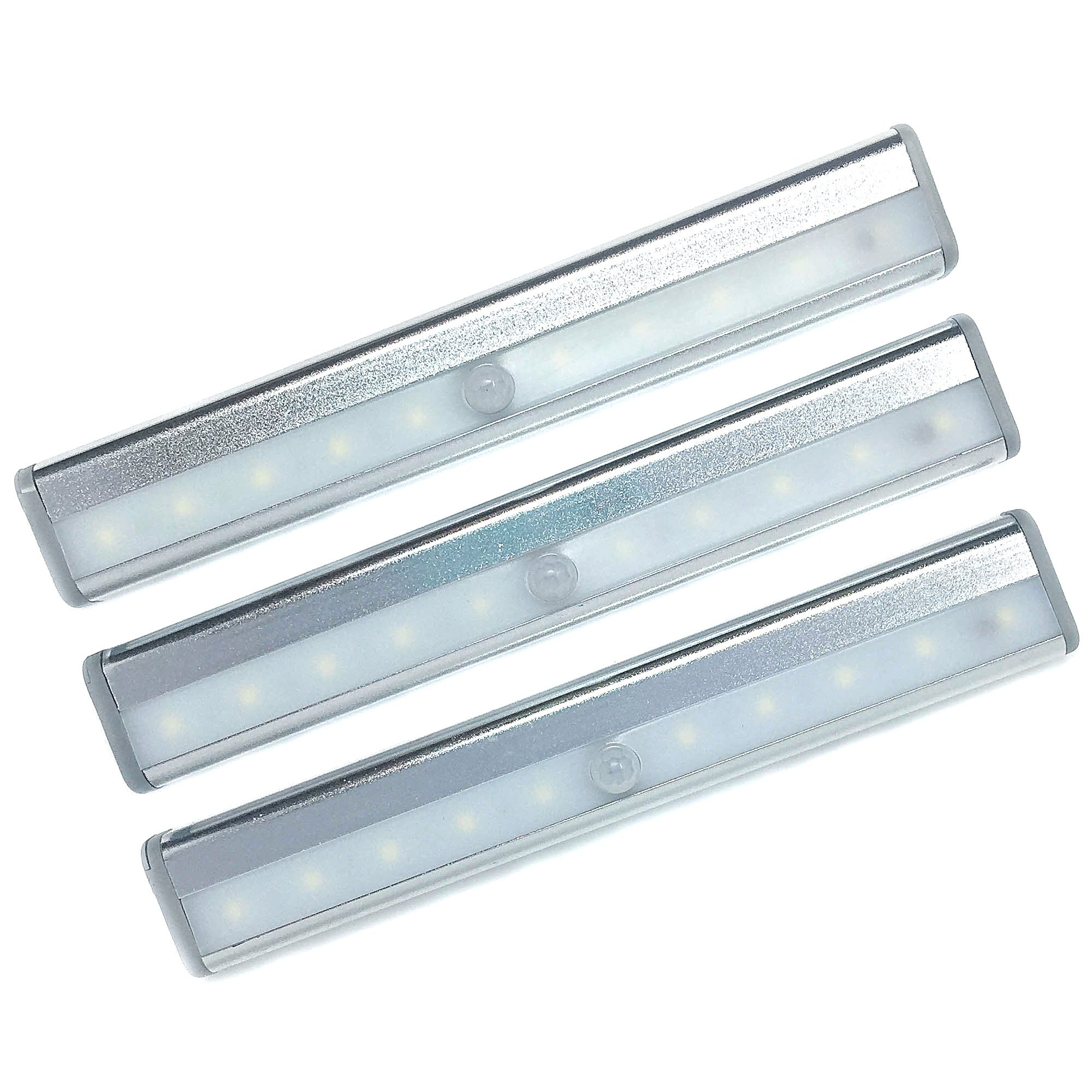 EpicSence 10 LED Motion Sensing Light- 3 Pack-DIY-Multi-Use Stick on any surface-Portable- Cordless Light Bar with Magnet Strip (Battery Operated)-Kids room/Cabinet/Closet/Stairs/Porch/RV/Tool Box