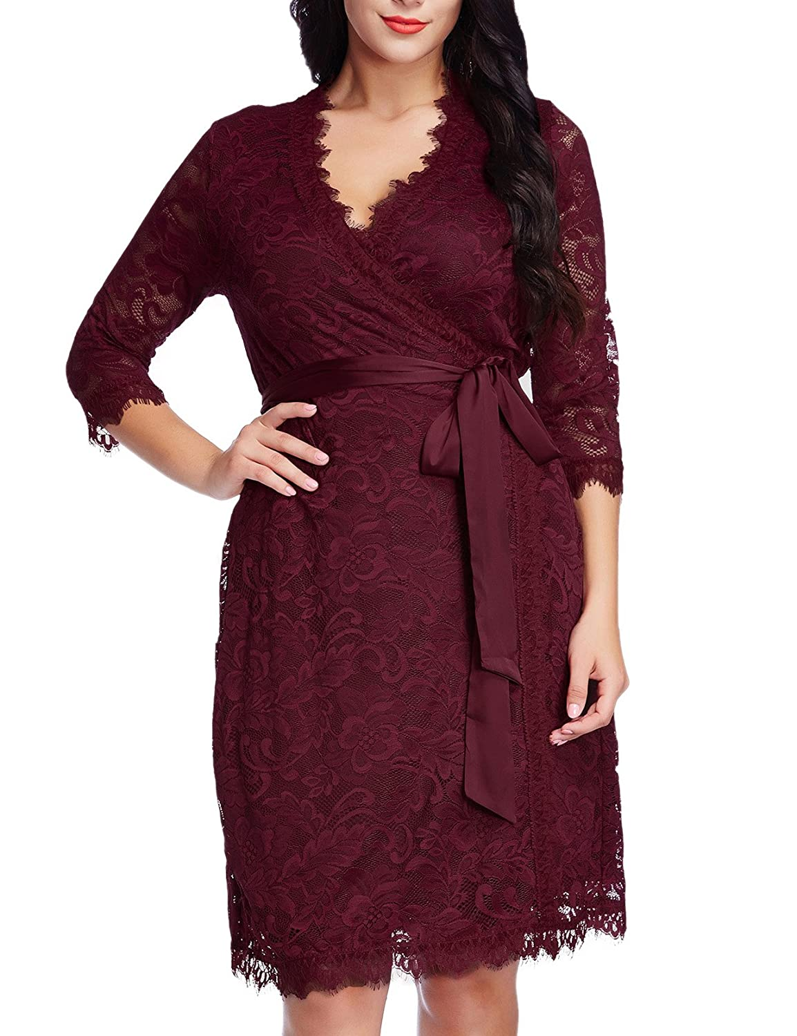 2a9d1966fb7c0 GRAPENT Womens Plus Size Red Floral Lace 3 4 Sleeves Formal True Wrap Dress  Cocktail 0X at Amazon Women s Clothing store