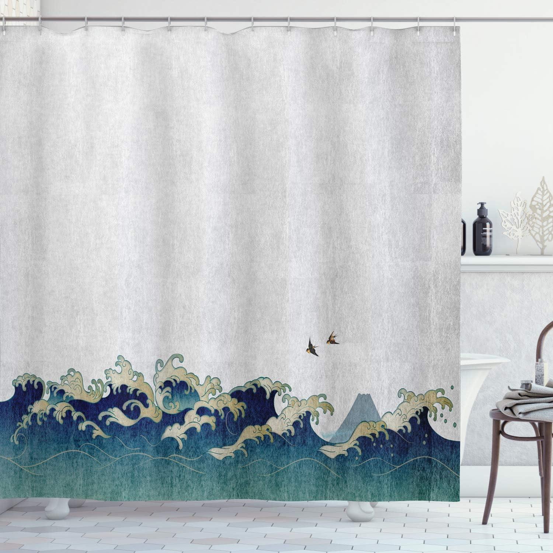 "Ambesonne Japanese Wave Shower Curtain, Aquatic Swirls Birds of Ocean Ukiyo-e Style Artwork Greyscale Background, Cloth Fabric Bathroom Decor Set with Hooks, 84"" Long Extra, Grey Blue"