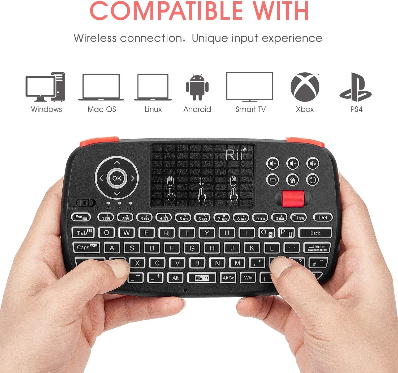 Nuova tastiera multimediale wireless doppia modalit/à con mouse touchpad mini tastiera wireless 2,4 G con pulsante di scorrimento//retroilluminazione a LED//batteria ricaricabile Rii I4 Bluetooth 4.0