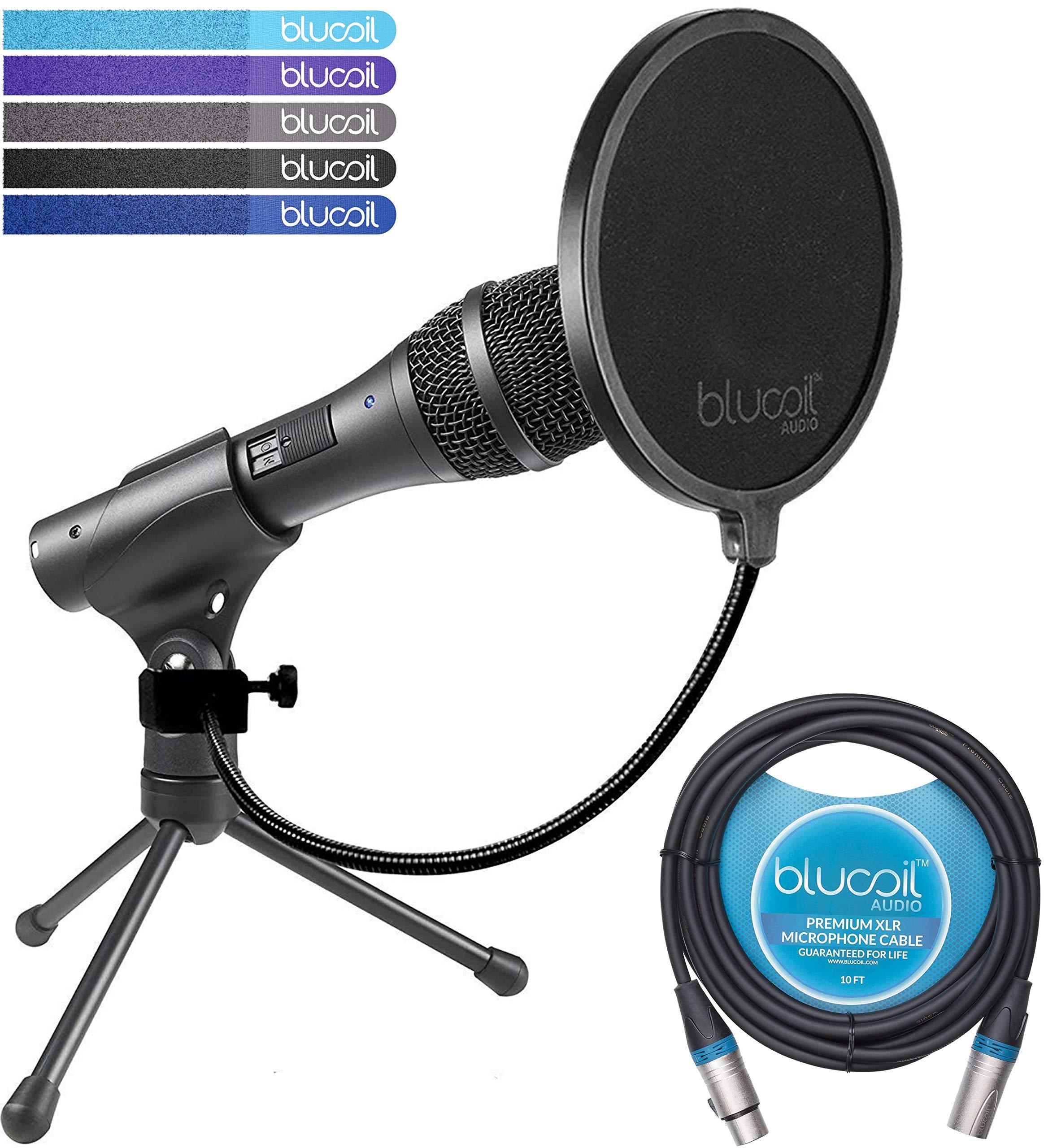 Audio Technica AT2005USB Micrófono cardioide dinámico con salidas USB / XLR Paquete con filtro Pop Blucoil y cable XLR d