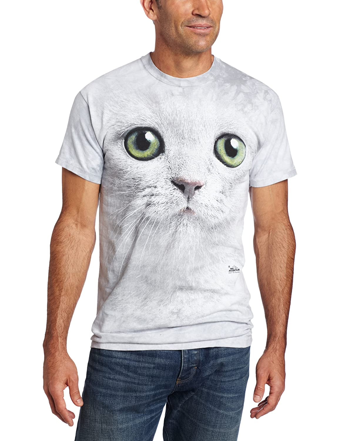 0f9446e46faf Amazon.com: The Mountain Men's Green Eyes Face T-Shirt, Off-White: Clothing