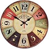 12 Inch Retro Wooden Wall Clock Farmhouse Decor, NALAKUVARA Silent Non Ticking Wall Clocks Large Decorative - Big Wood Atomic Analog Battery Operated - Vintage Rustic Colorful Tuscan Country Outdoor