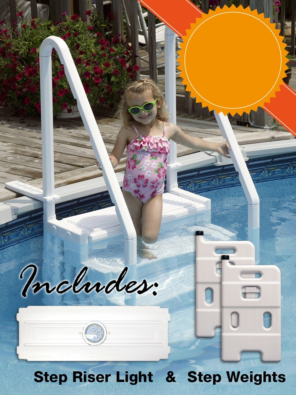 Easy Pool Step Deluxe Entry Kit - Includes Step, Light & Weight System by EASY STEP