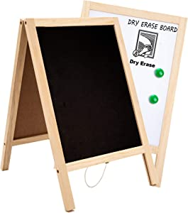 Whiteboard and Chalk Boards with Frame Double Sided, Chalkboard Sign Non-Porous Erasable Handwriting, Mini Chalkboard Signs as Table Top Menu Home Kitchen Wedding Bar Decor 10x15.7 inches