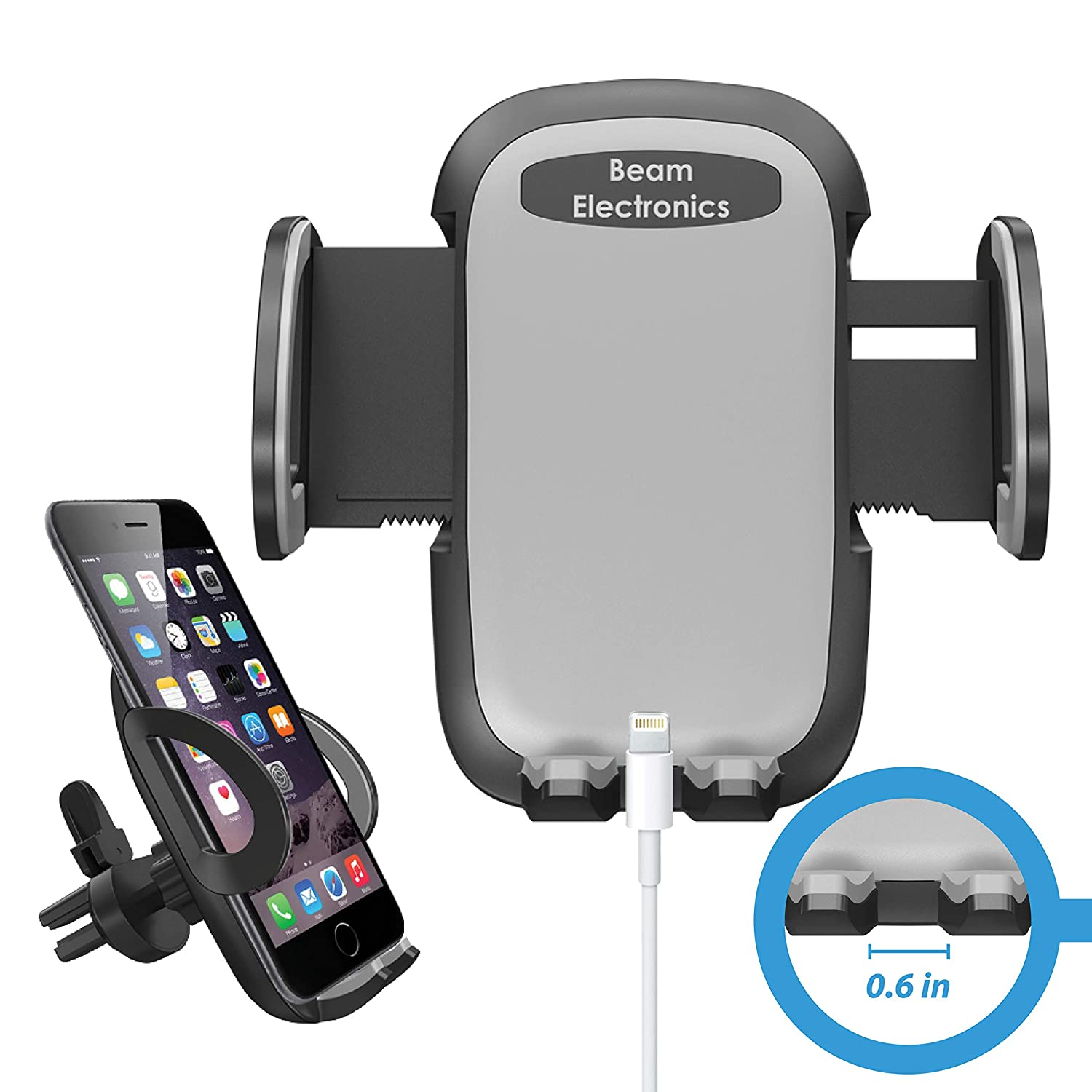 7 7 6 5s 4 Samsung Galaxy S10 S9 S8 S7 S6 S5 S4 LG Nexus Black Beam Electronics Universal Smartphone Car Air Vent Mount Holder Cradle Compatible with iPhone Xs XS Max XR X 8 8 SE 6s 6