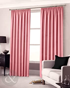 Blackout Curtains blackout curtains 90×90 : CLEARANCE Pink Pencil Pleat Curtains 90 x 90 Semi Blackout Lined ...