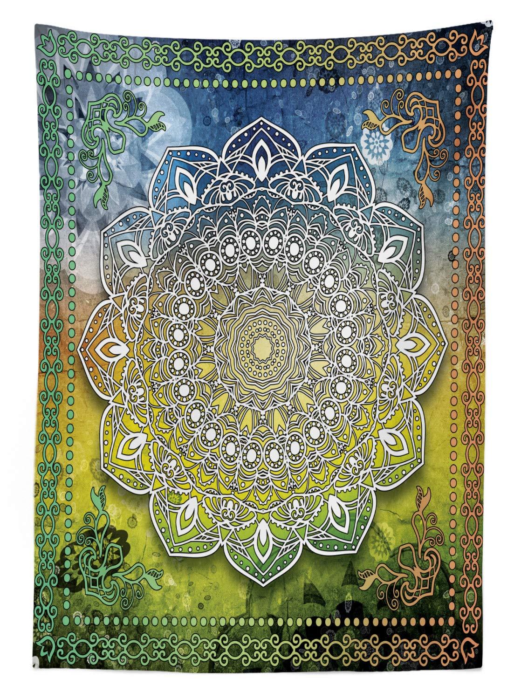 Facile /à Nettoyer Lavable Impression Couleur Rapide ABAKUHAUS Ethnique Nappe 140 x 240 cm Multicolor Mandala Asiatique Culture Zen Chakra Karma Calme Et Harmonie Ic/ône Boho Design