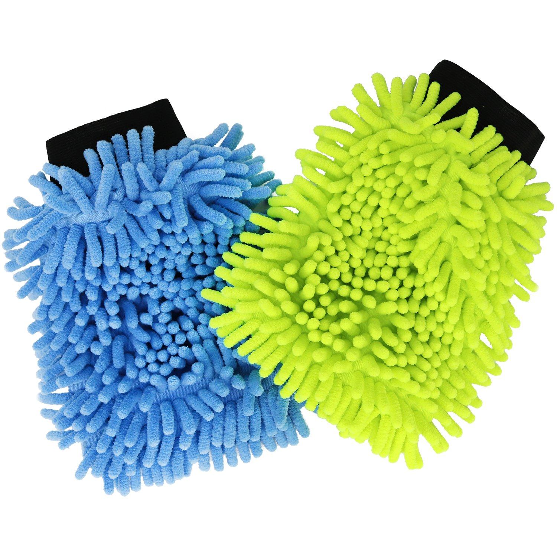 com-four 2X Mikrofaser Chenille Reinigungshandschuh in Verschiedenen Farben, 22 x 14,5 cm (02 Stü ck - Bunt) (02 Stü ck - bunt)