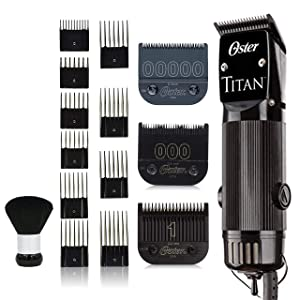Oster Titan Model #76076-310 Detachable Blade Heavy Duty Clipper with Bonus 00000 Detachable Blade, Oster 10 Guide Comb Set and Neck Duster