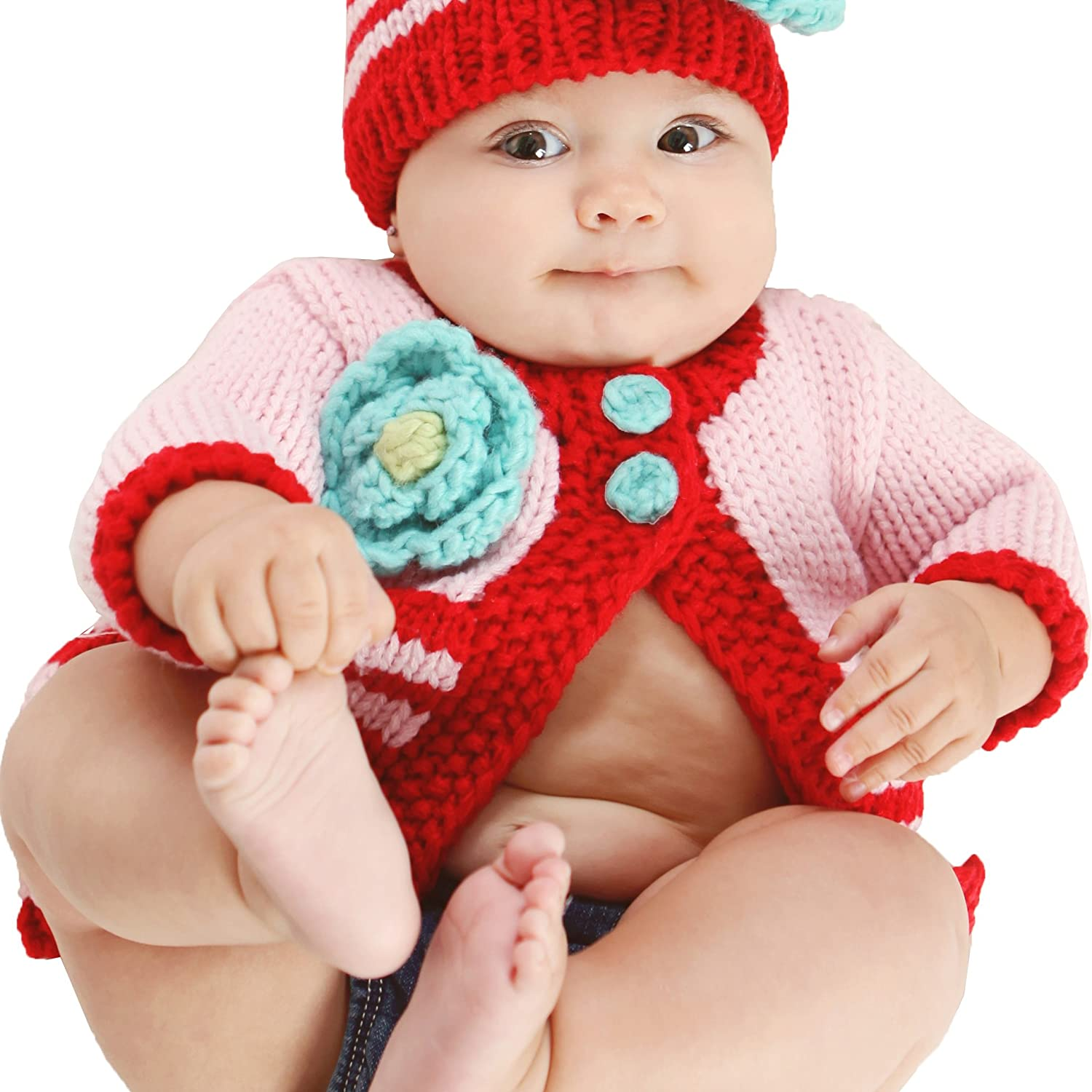 12-18 months, Festive Sweater Huggalugs Baby or Toddler Girls Cozy Striped Flower Sweater or Beanie Hat