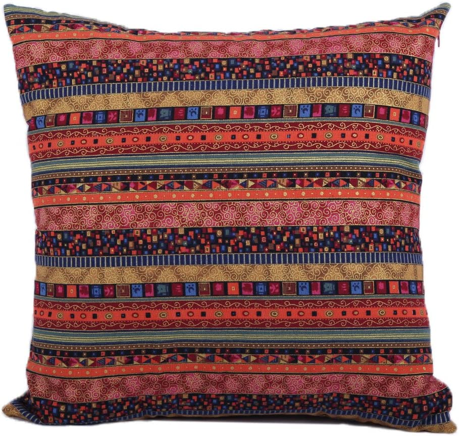 Jahosin Decorative Bohemian Style Cushion Cover Throw Pillows Case Shell Red for Bed Couch Livingroom, 18 X 18 Inches (Bohemia)